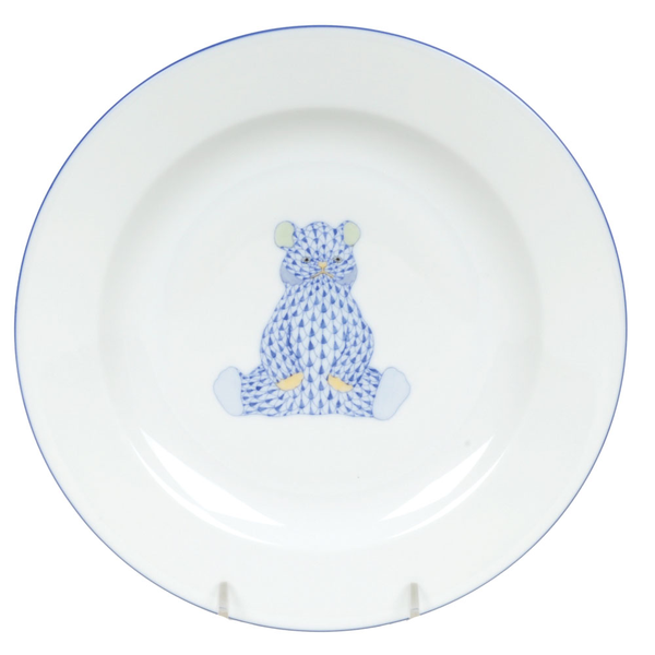 Herend Bear Plate, Blue
