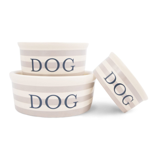 Vintage Taupe Stripe Ceramic Dog Bowl