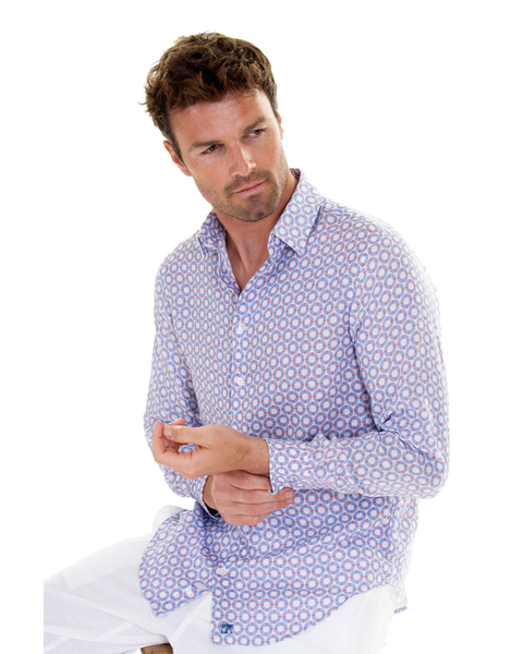 Pink House Mustique Men's Life Ring Linen Shirt