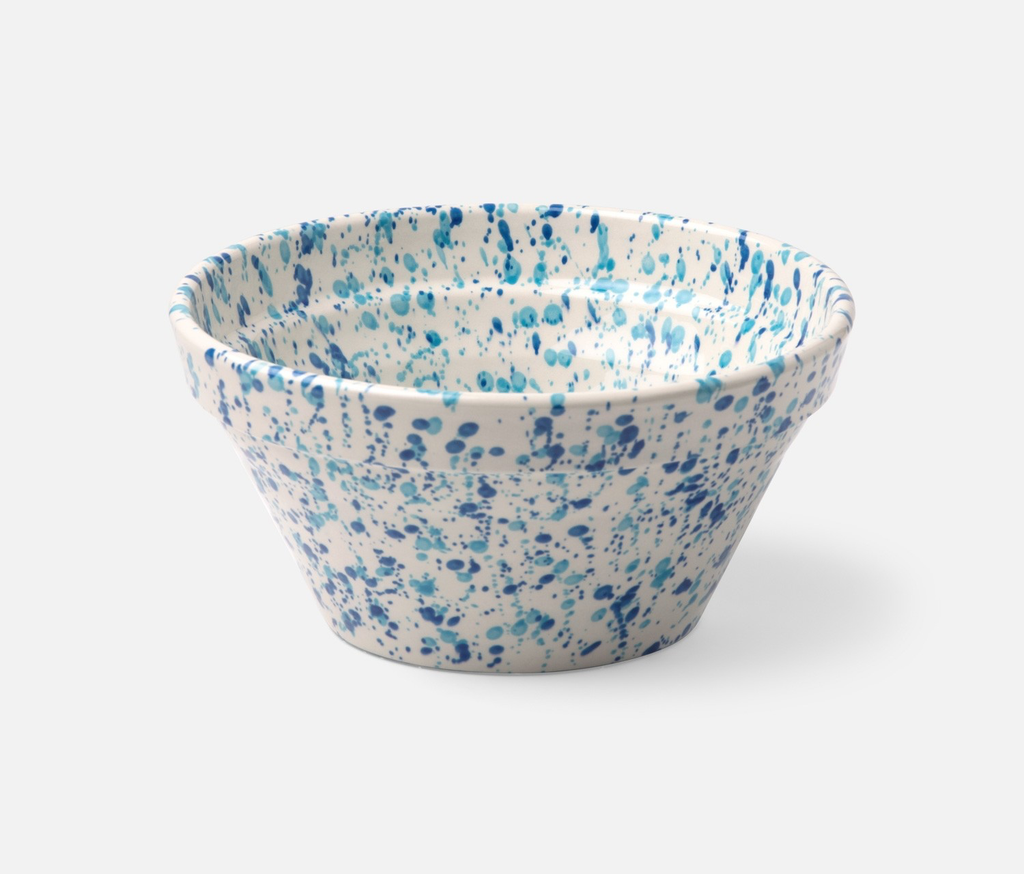 Mixed Blue Spongeware Serving Bowl, Small
