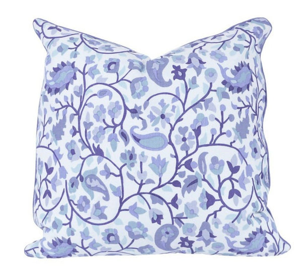 Rohet Multi Blue Pillow with Ocean Fringe