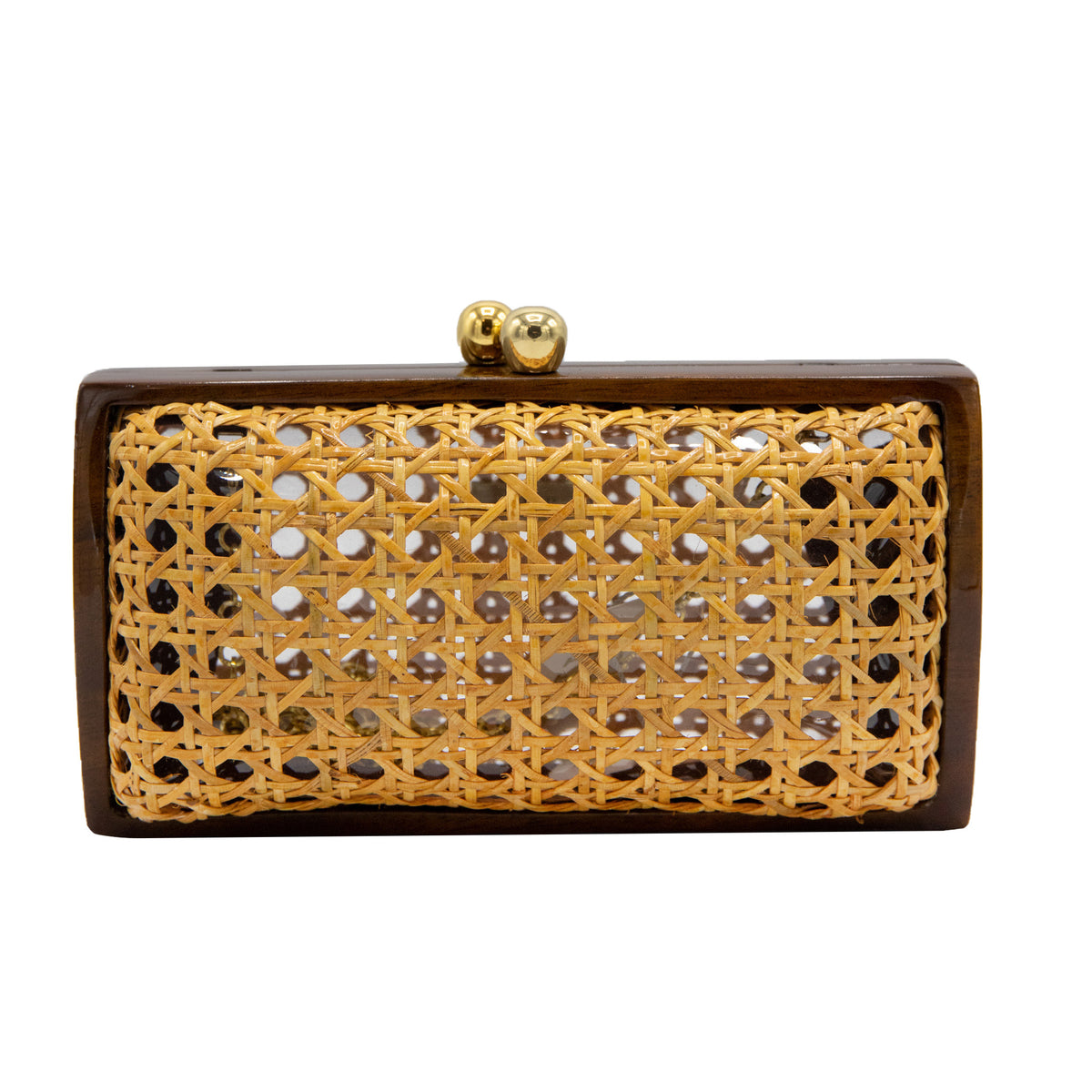 Serpui Farah Diba Cane Clutch, Wood