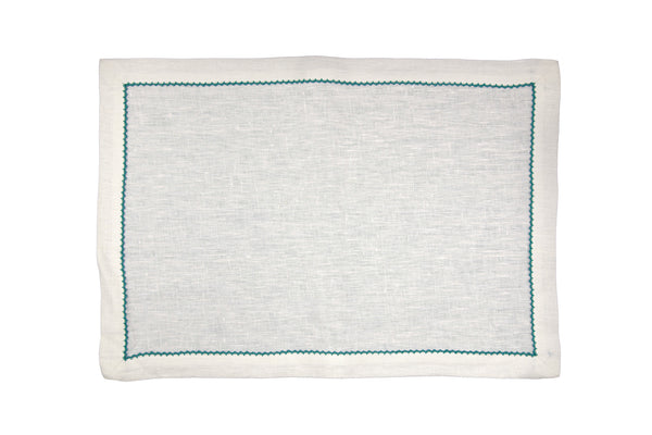 linen placemats, ecru/jade inverted pico edge