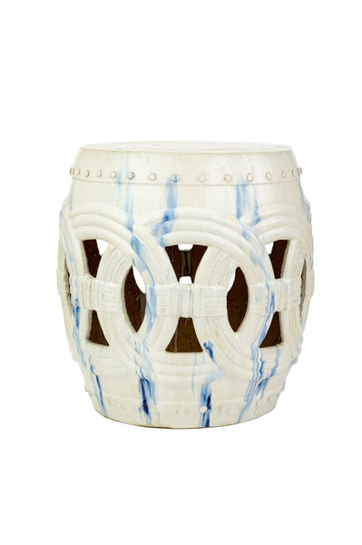 Circle Garden Stool, White and Blue