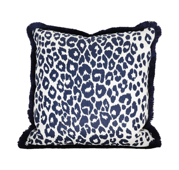 Iconic Navy Leopard Pillow