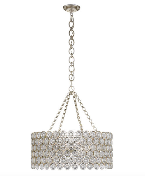 Lesina Chandelier, Burnished Silver Leaf and Crystal