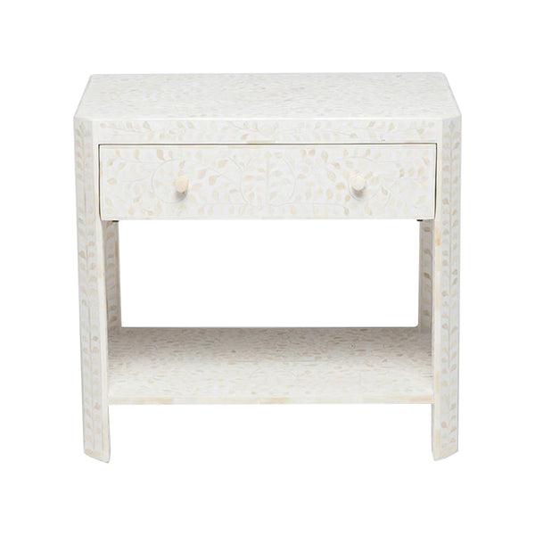 Lexi White Floral Bone Side Table