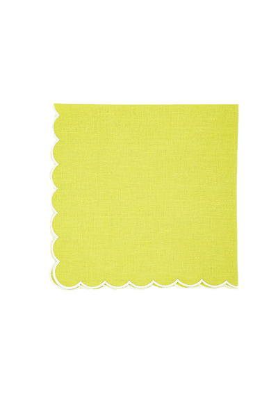 Linen Napkins, Avocado with White Scallop