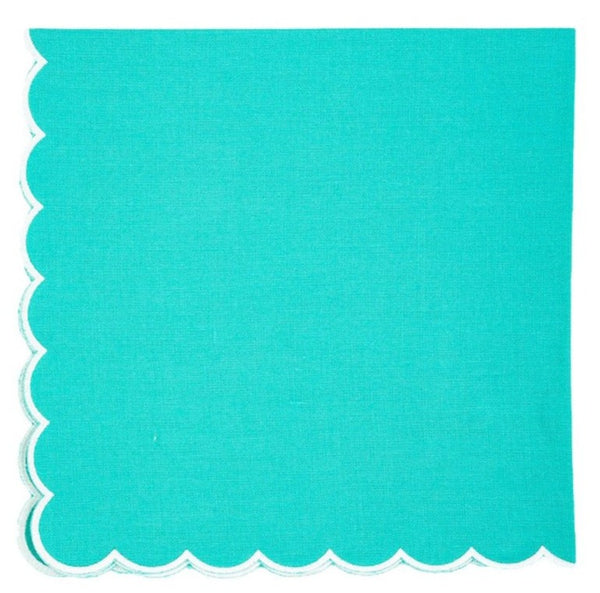 Linen Napkins, Caribbean with White Scallop