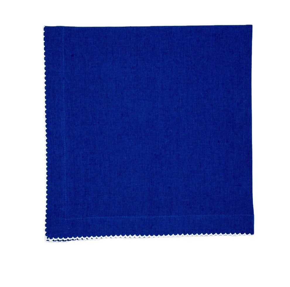 Linen Napkins, Electric Blue with White Pico Edge