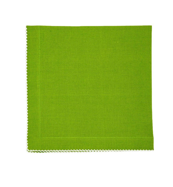 Linen Napkins, Green Apple with White Pico Edge