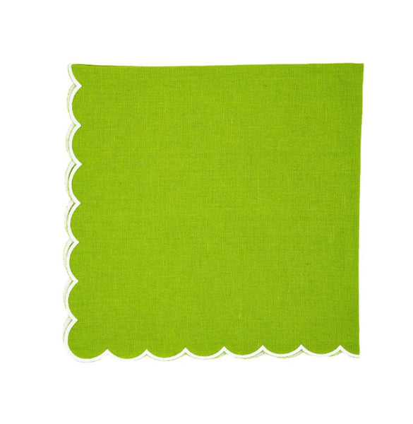 Linen Napkins, Green Apple with White Scallop, Set of 4
