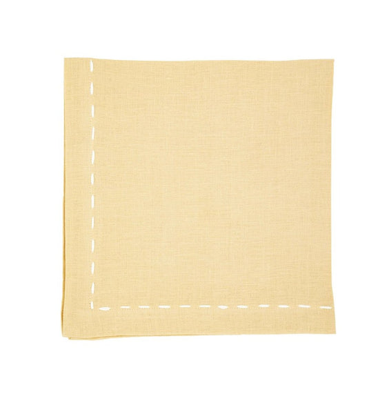 Linen Napkins, Parchment Saddle Stitch White Ribbon
