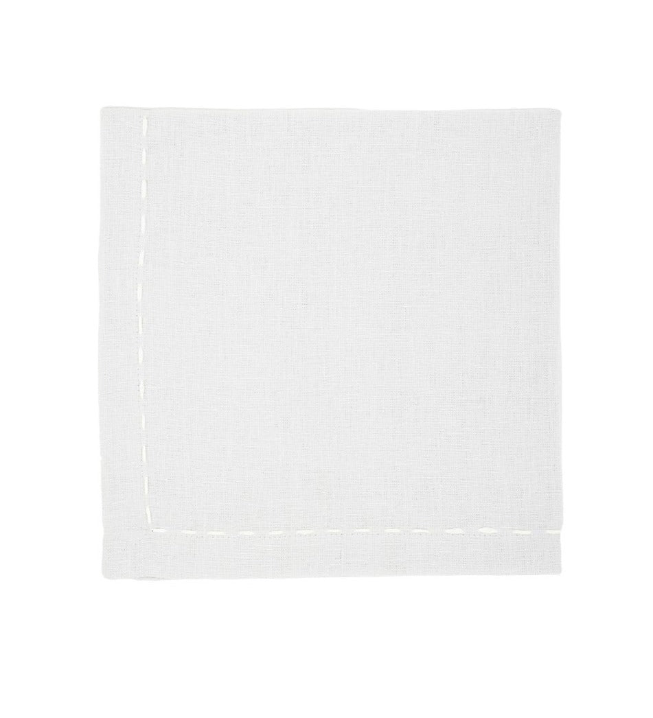 Linen Napkins, Quartz with White Saddle Stitch
