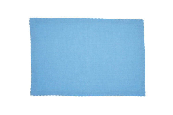 Linen Placemats, Cool Blue with White Pico Edge, Set of 4