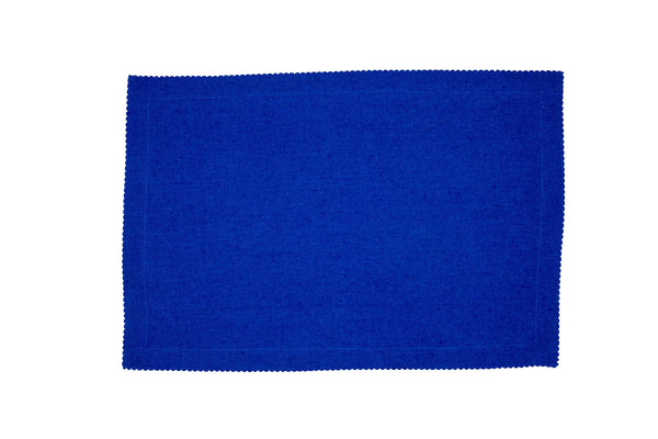 Linen Placemats, Electric Blue with White Pico Edge, Set of 4