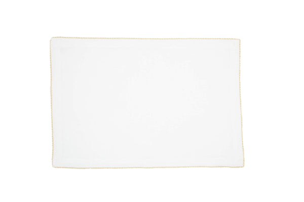 Linen Placemats, White with Natural Pico Edge