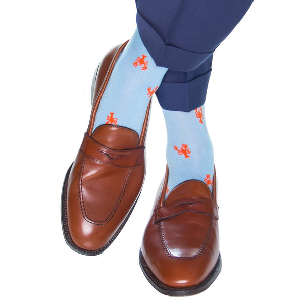 Dapper Classics Lobster Mid Calf Socks, Sky Blue/Tigerlilly