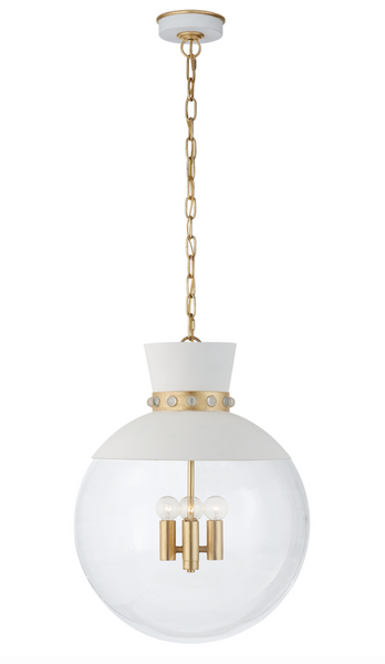 Lucia Large Pendant, Matte White and Gild with Clear Glass