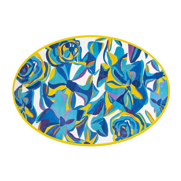 Blue Rose Serving Platter, Melamine
