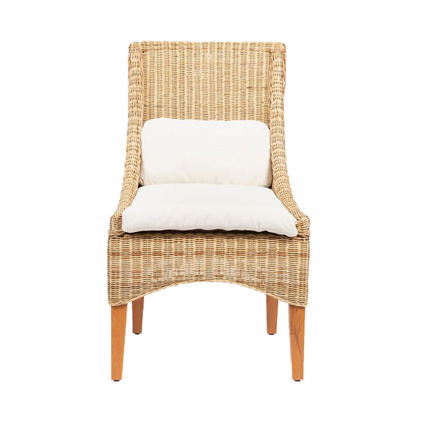 Mallory Natural Wicker Dining Chair with Cushion