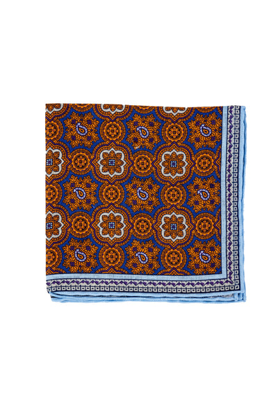Robert Jensen Mandala Printed Linen Pocket Square, Orange