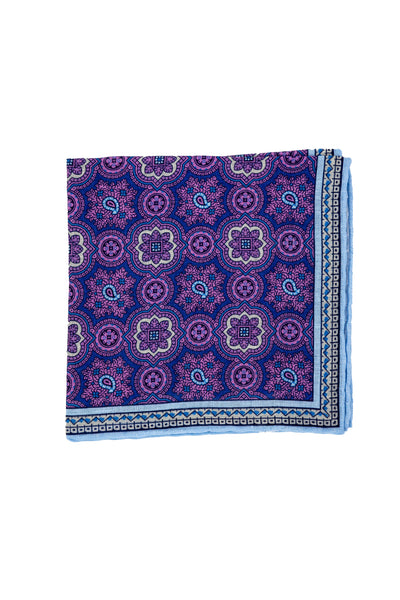 Robert Jensen Mandala Printed Linen Pocket Square, Purple