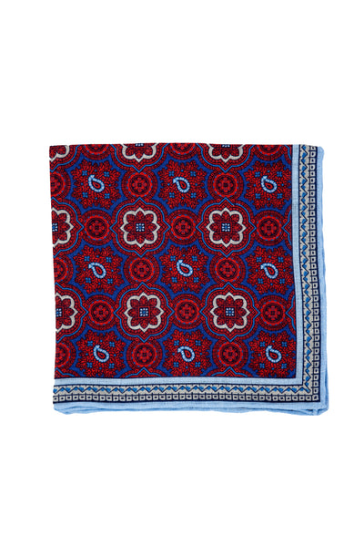 Robert Jensen Mandala Printed Linen Pocket Square, Raspberry