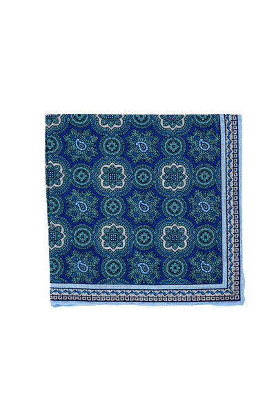Robert Jensen Mandala Printed Linen Pocket Square, Sea Green