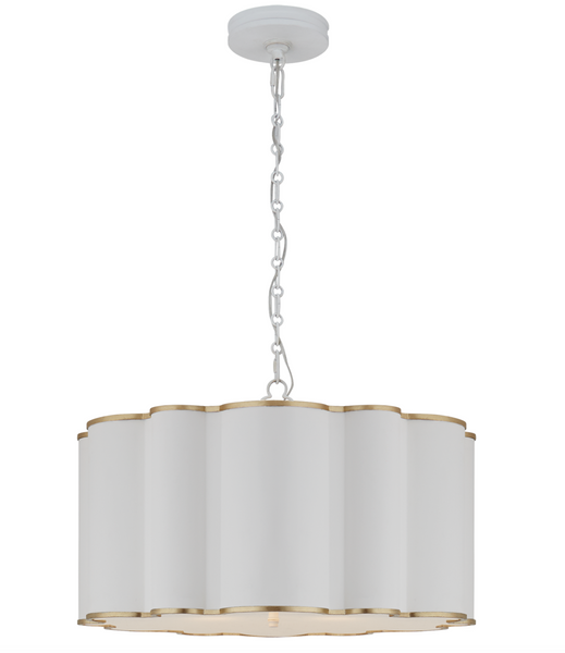 Markos Large Hanging Shade, White and Gild with Frosted Acrylic