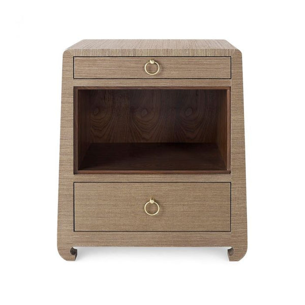 Ming 2 Drawer Side Table in Brown