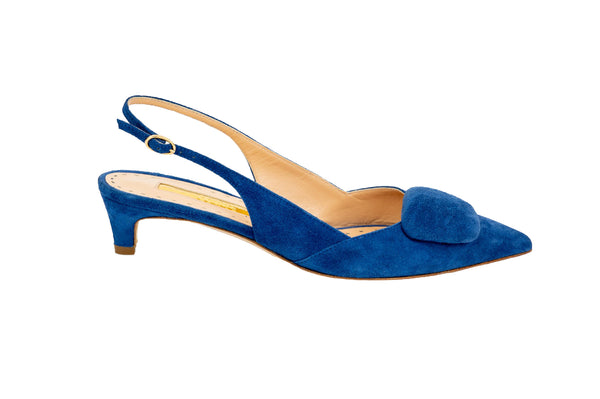 Rupert Sanderson Misty Suede Covered Pebble Slingback Kitten Heel