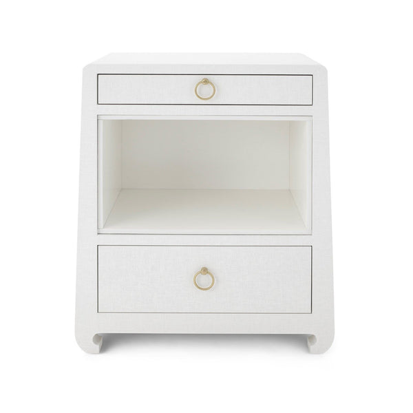 Ming 2 Drawer Side Table in White