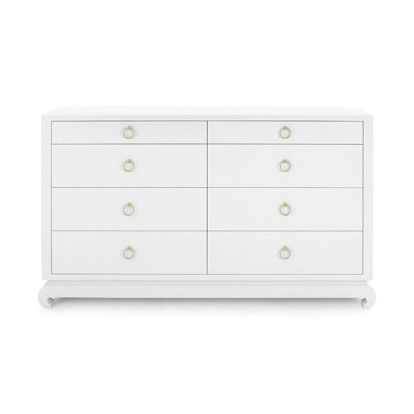 Ming Extra Large 8-Drawer Dresser in White Lacquered Grass Cloth