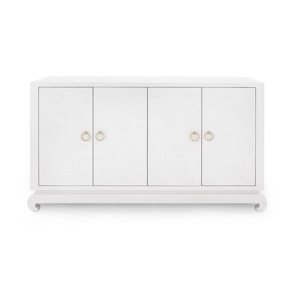 Meredith Cabinet in White Lacquered Grass Cloth