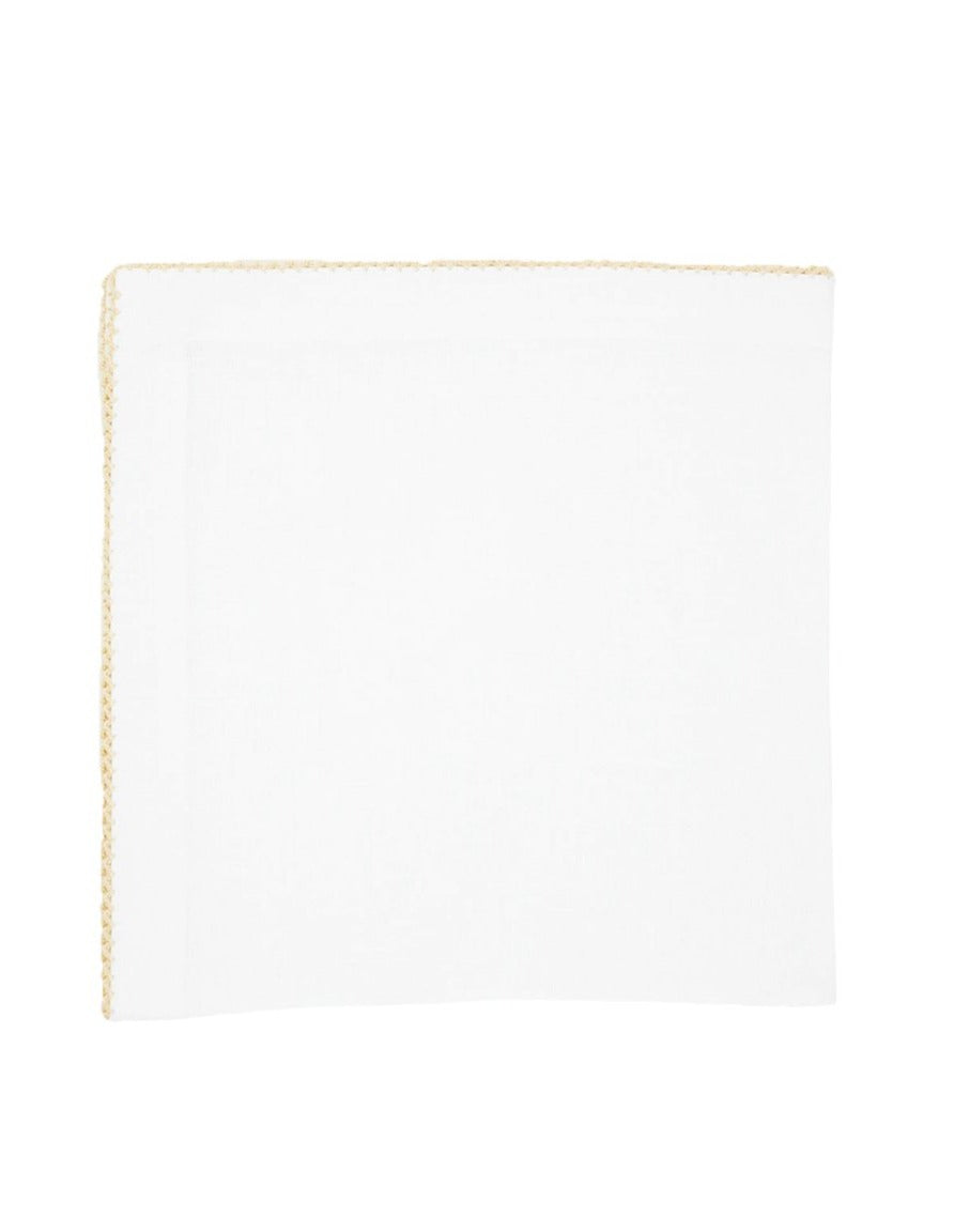 Linen Napkins, White with Natural Pico Edge