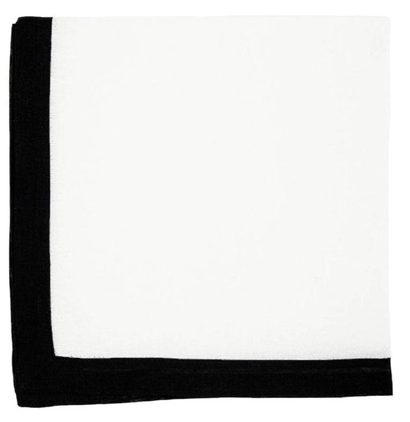 Newport Border Linen Napkin, White with Black