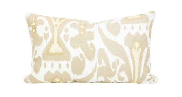Outdoor Latte Ikat Lumbar Pillow