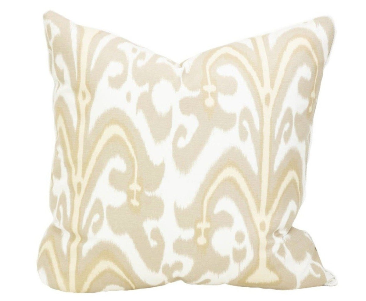 Outdoor Latte Ikat Pillow