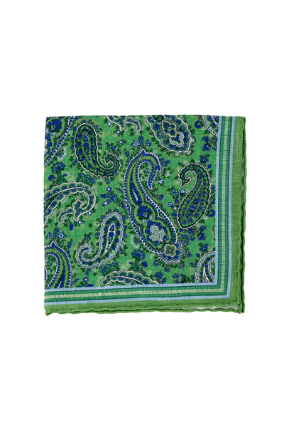 Robert Jensen Paisley Printed Linen Pocket Square, Fairway Green