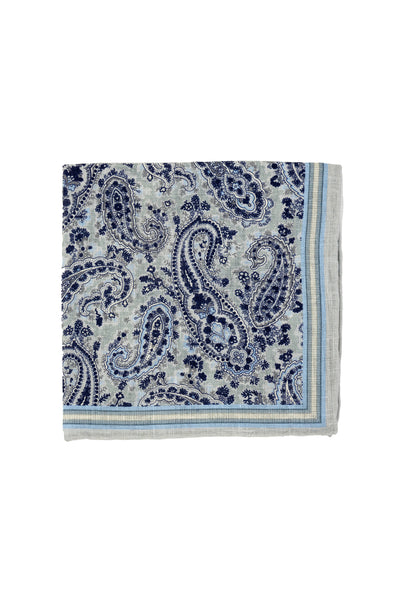Robert Jensen Paisley Printed Linen Pocket Square, Gray