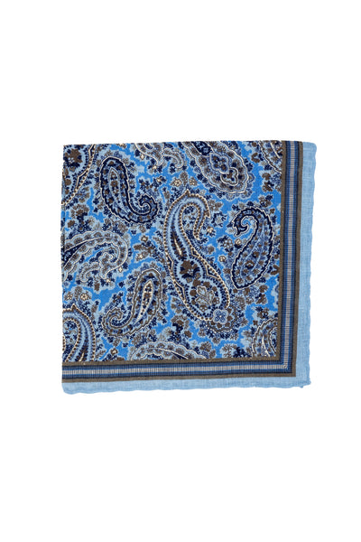 Robert Jensen Paisley Printed Linen Pocket Square, Sky Blue