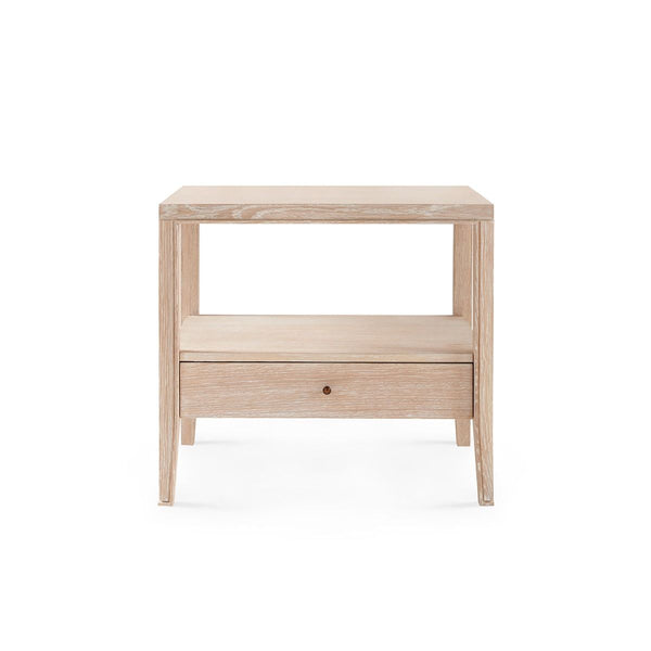 Paola 1 Drawer Side Table, Bleached Cerused Oak