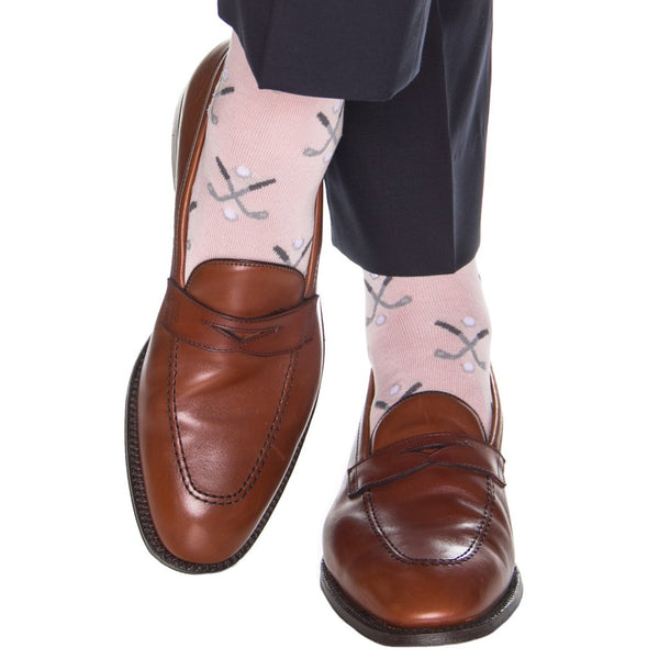 Dapper Classics Golf Club Mid Calf Socks, Pink