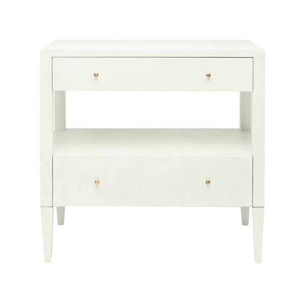 Pristine White Raffia Double Nightstand