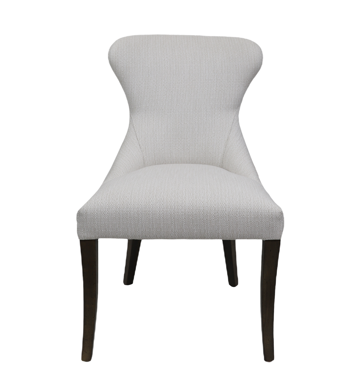 Curved Back Dining Chair in Perennials Raffia Chalk in Fawn Finish