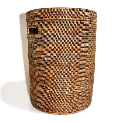 round laundry hamper, small, antique brown