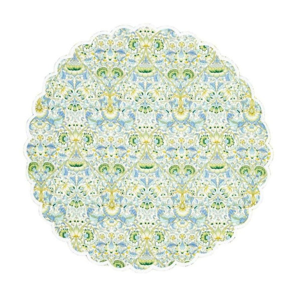 Round Linen Placemats, Liberty London, Lodden, White Scallop & Avocado Back, Set of 4