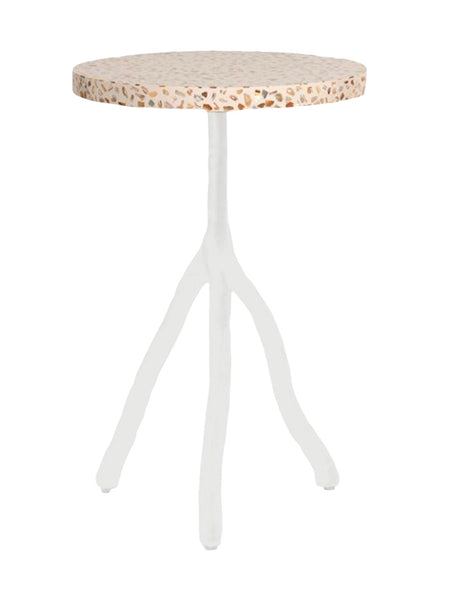 Royce White Metal and Mother of Pearl Side Table