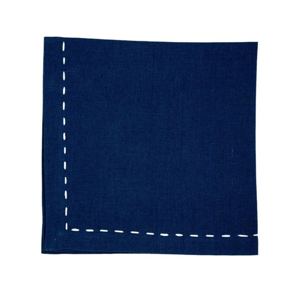 Linen Napkins, Sapphire with Saddle Stitch White Ribbon